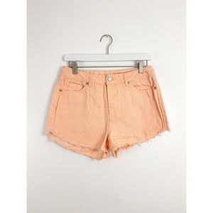 Refuge Orange Cutoff Denim Shorts